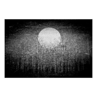 Full moon at winter night | Black and White Art Poster
