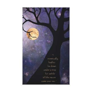 Full Moon Bare Trees Canvas Print