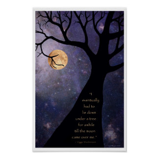 Full Moon Bare Trees Posters