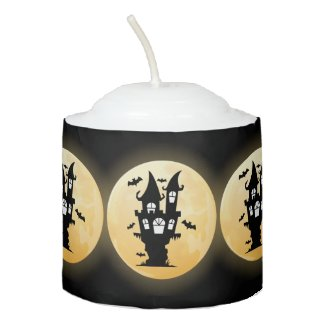 Full Moon, Bats and Haunted House Halloween Votive Candle