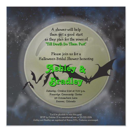 Full Moon Bats Halloween Bridal Shower Invitation
