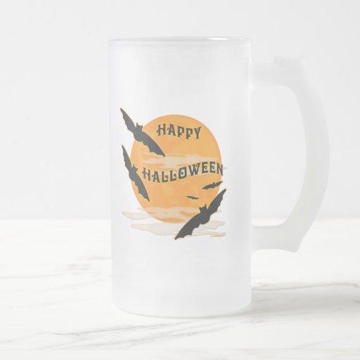 Full Moon Bats Happy Halloween 16 Oz Frosted Glass Beer Mug