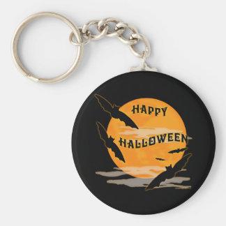 Full Moon Bats Happy Halloween Basic Round Button Keychain