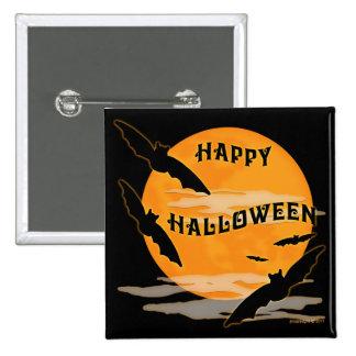 Full Moon Bats Happy Halloween Button