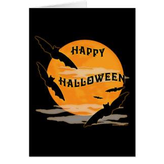 Full Moon Bats Happy Halloween Card