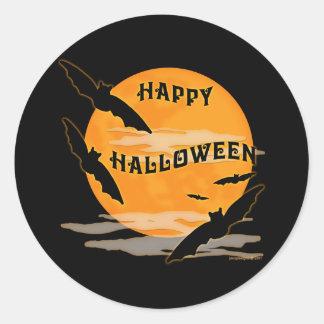 Full Moon Bats Happy Halloween Classic Round Sticker