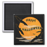 Full Moon Bats Happy Halloween Fridge Magnets