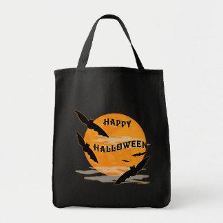 Full Moon Bats Happy Halloween Grocery Tote Bag