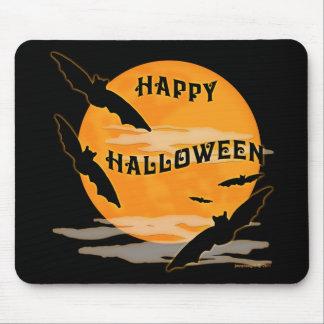Full Moon Bats Happy Halloween Mouse Pad