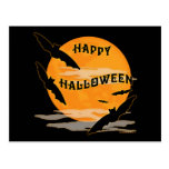 Full Moon Bats Happy Halloween Postcard