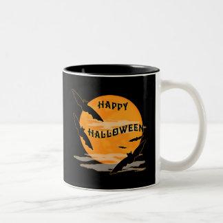 Full Moon Bats Happy Halloween Two-Tone Coffee Mug