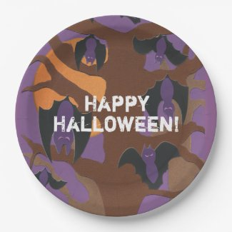 Full Moon Bats Personalized Halloween Paper Plate
