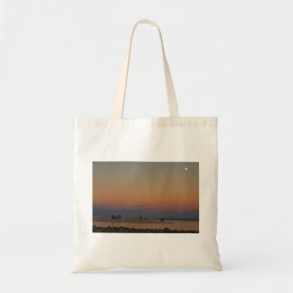 Full Moon Beach Watching At Sunset Tote Bag