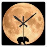 Full Moon Bear Square Wall Clock