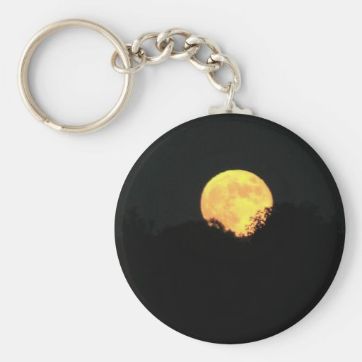 Full Moon Behind The Trees Key Chain