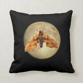 Full Moon Big Moth Silhouette Pillow
