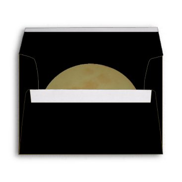 Halloween Themed Full Moon, Black and Gold Envelope