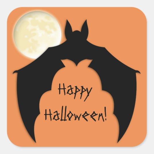 Full Moon, Black Bat Square Sticker