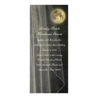 "Full Moon Black Night Veil Tall Wedding Invitation 4"" X 9.25"" Invitation Card"