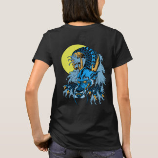 Full Moon Blue Asian Art Dragon T-Shirt