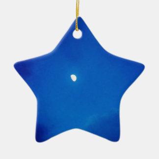 Full Moon  Blue Clouds Ceramic Ornament