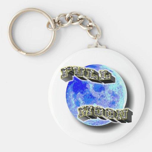 Full Moon Blue Keychain