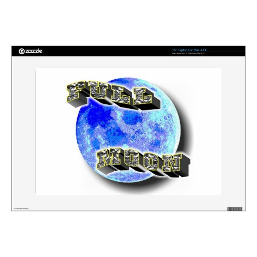 Full Moon Blue Laptop Decal