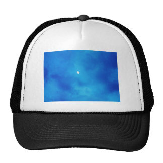 Full Moon Bright Blue Clouds Trucker Hat