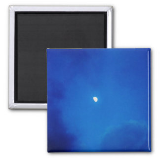 Full Moon Bright Blue Clouds Refrigerator Magnet