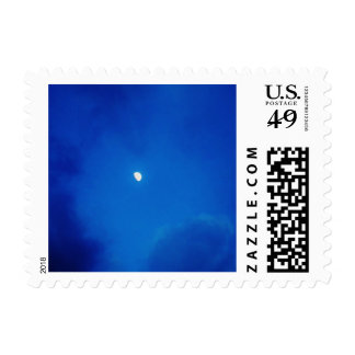 Full Moon Bright Blue Clouds Stamps