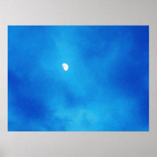 Full Moon Bright Blue Clouds Print