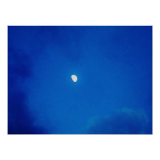 Full Moon Bright Blue Clouds Posters