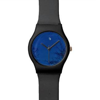 Full Moon Bright Blue Clouds Wristwatch