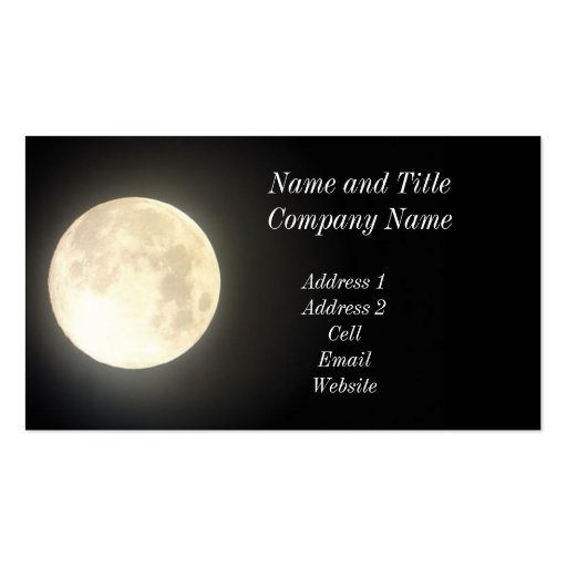 Full Moon Business/Profile Card Double-Sided Standard Business Cards (Pack Of 100)