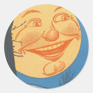 Full Moon Cartoon Classic Round Sticker
