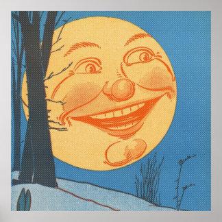 Full Moon Cartoon Poster