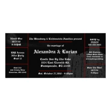 Halloween Themed Full Moon Castle Gothic Wedding Ticket Invitations