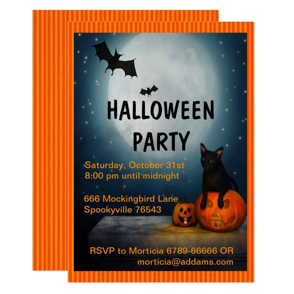 Full Moon, Cat and Pumpkin Halloween Invitation