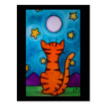 Full Moon Cat Watch Postcard