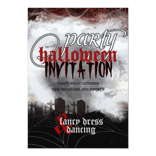 Full Moon Cemetery Dreams Halloween Party Invites
