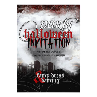 Full Moon Cemetery Dreams Halloween Party Invites