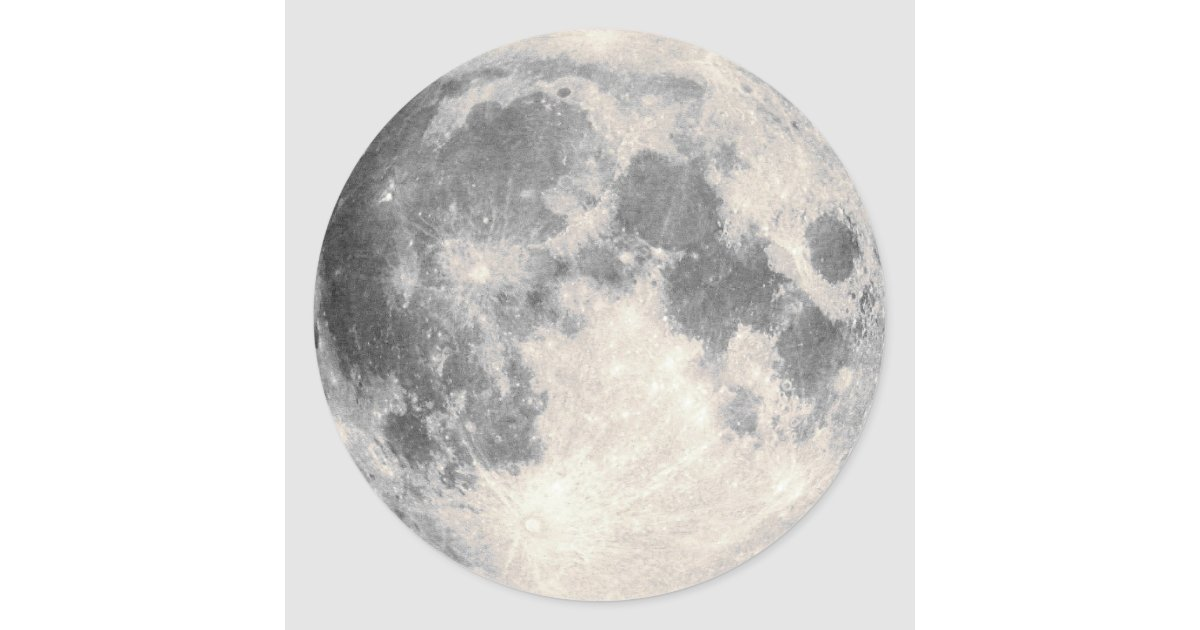 Full Moon Classic Round Sticker | Zazzle.com