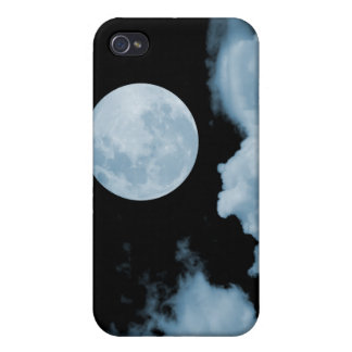 FULL MOON CLOUDS BLACK AND BLUE CASES FOR iPhone 4