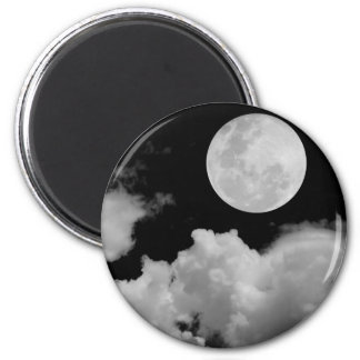FULL MOON CLOUDS BLACK AND WHITE 2 INCH ROUND MAGNET