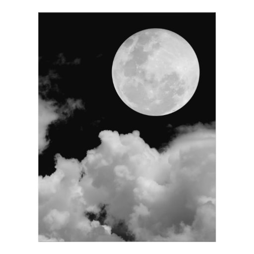 "FULL MOON CLOUDS BLACK AND WHITE 8.5"" X 11"" FLYER"
