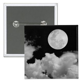 FULL MOON CLOUDS BLACK AND WHITE BUTTON
