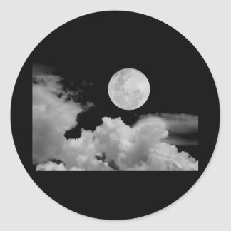 FULL MOON CLOUDS BLACK AND WHITE CLASSIC ROUND STICKER