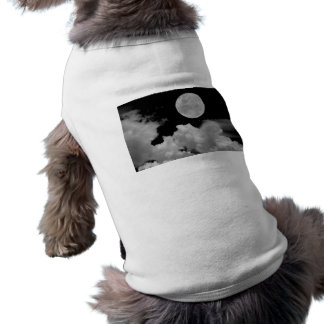 FULL MOON CLOUDS BLACK AND WHITE DOG T SHIRT