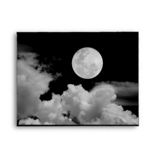 FULL MOON CLOUDS BLACK AND WHITE ENVELOPE