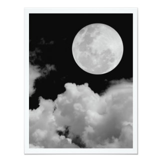 FULL MOON CLOUDS BLACK AND WHITE PERSONALIZED ANNOUNCEMENTS